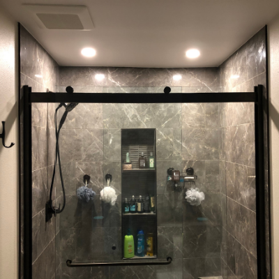 Bathroom remodel recessed cans over shower and exhaust fan in Sherwood by Classic Electric