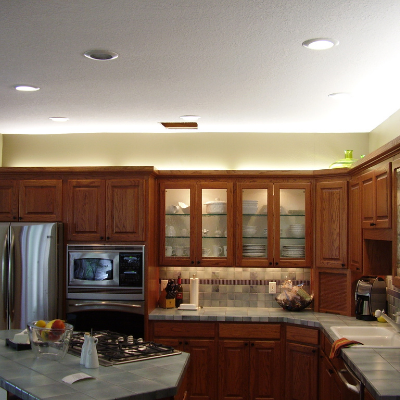 Kitchen remodel over-cabinet lights in Tigard by Classic Electric