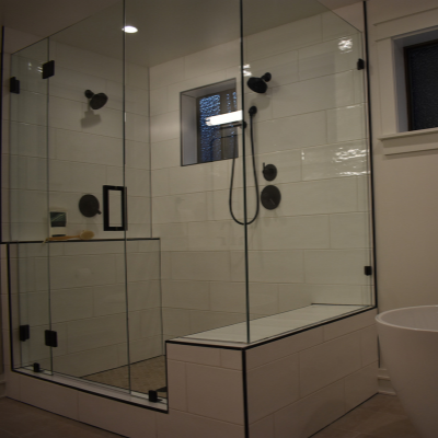 Bathroom remodel recessed can lights over shower in Tigard by Classic Electric