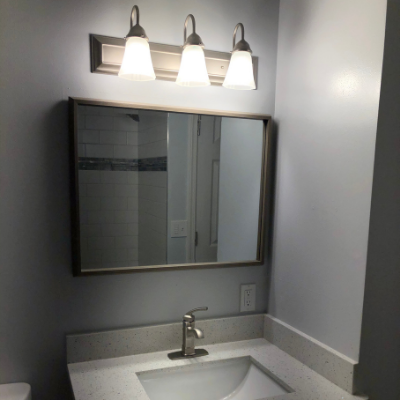 Bathroom remodel vanity light and receptacle outlet in Beaverton by Classic Electric