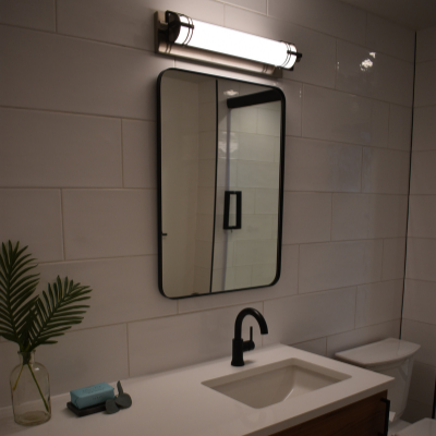 Bathroom remodel with new vanity light in Tigard by Classic Electric