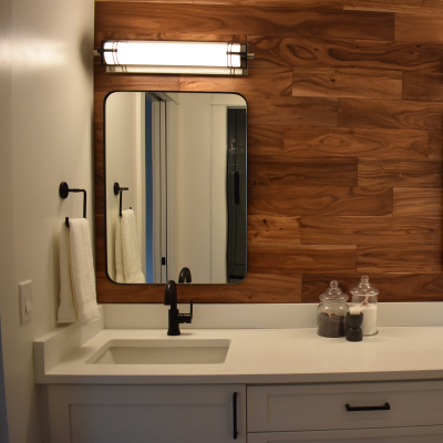 Bathroom remodel with vanity light in Tigard by Classic Electric