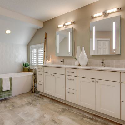 Bathroom remodel with vanity lights and recessed can in Tualatin by Classic Electric