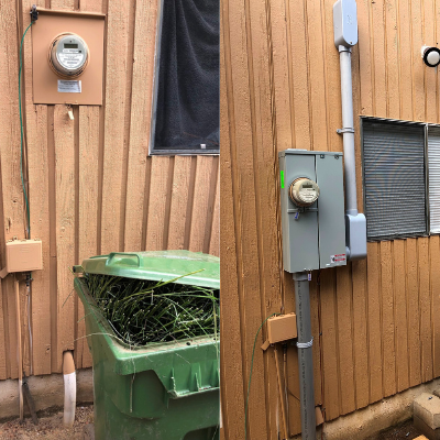 Before and after electrical service change in Tualatin by Classic Electric