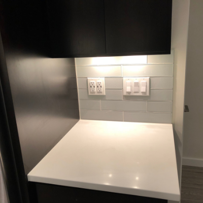 Kitchen countertop plugs, switches, and under-cabinet lights by Classic Electric in Tualatin