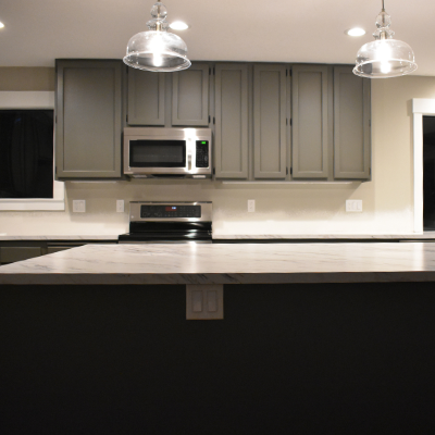 Kitchen remodel pendant lights, microwave circuit, island plugs, and recessed can lights in Newberg by Classic Electric